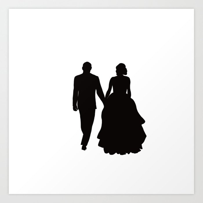 wedding couple silhouette design for weddings art print by