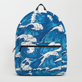 Blue raging waves Backpack
