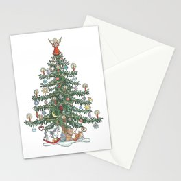 Xmas Tree Angel on Top Stationery Cards