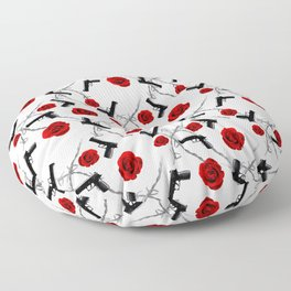 Roses Barbed Wire Guns Pattern Love Is War Floor Pillow