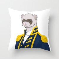 ferret Throw Pillows featuring Captain Ferret by Szilárd A Legjobb