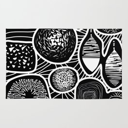 Black and white pattern - linogravure style Rug