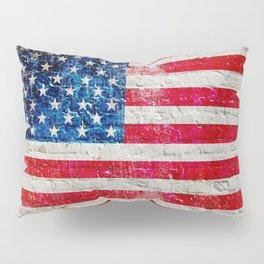 Distressed American Flag On Old Brick Wall - Horizontal Pillow Sham