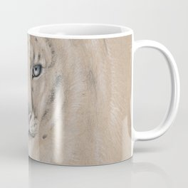 Snow Leopard Ghost Graphite Colored Pencil Drawing Coffee Mug