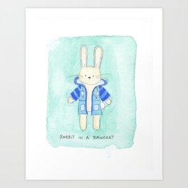 Rabbit in a Rain Coat Art Print
