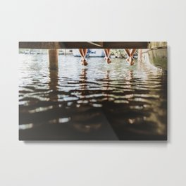 Friends relaxing on the pier Metal Print