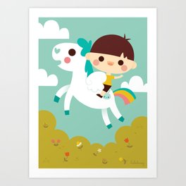 Riding a white pegasus Art Print