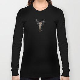 Cute Musical Moose Dj Wearing Headphones Blue Long Sleeve T-shirt