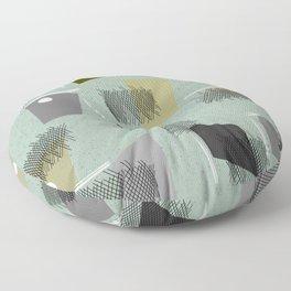 Mid-Century Modern Green Abstract Floor Pillow