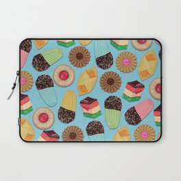 Assorted Cookies on Blue Background Laptop Sleeve