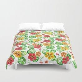 Watercolor Floral Simple Garden Nasturtium Flowers Duvet Cover