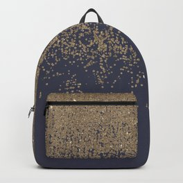 Navy Blue Gold Sparkly Glitter Ombre Backpack