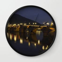 Heidelberg Bridge by night Wall Clock