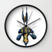 x men Wall Clocks featuring X-Men by Nicola Girello