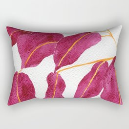 Ruby and gold leaves watercolor illustration Rectangular Pillow