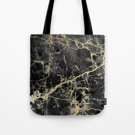 Chic black faux gold modern abstract marble Tote Bag