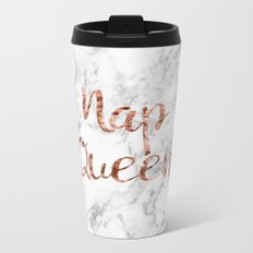 Nap queen - rose gold on marble Metal Travel Mug