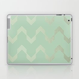 Simply Deconstructed Chevron in White Gold Sands and Pastel Cactus Green Laptop & iPad Skin