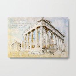 Acropolis, Athens Greece Metal Print