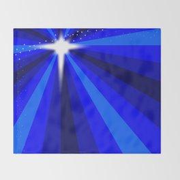 Blue Christmas Star Throw Blanket