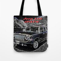 jeep Tote Bags featuring JEEP JPATW by Dmarmol