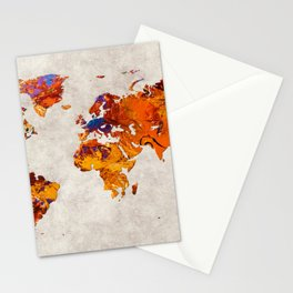 World Map 58 Stationery Cards