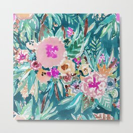 LESS IS BORE Colorful Tropical Floral Metal Print