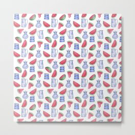 Melons and Jugs Pattern, White Metal Print