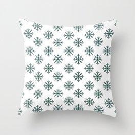 Snowflakes (Dark Green & White Pattern) Throw Pillow