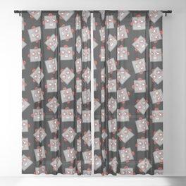 Retro Robot Heads Sheer Curtain