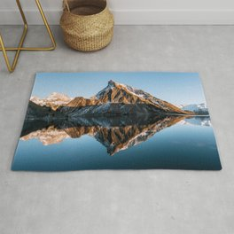 Calm Mountain Lake at Sunset - Landscape Photography Rug