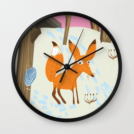 Russia Fox vintage travel poster Wall Clock
