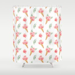 Floral Cones Pattern Shower Curtain