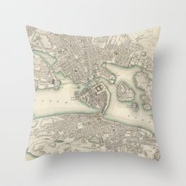 Vintage Map of Stockholm Sweden (1838) Throw Pillow