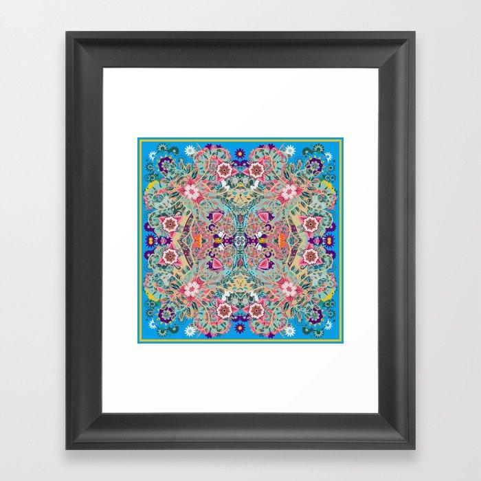 Mandala - Turquoise Boho Gerahmter Kunstdruck