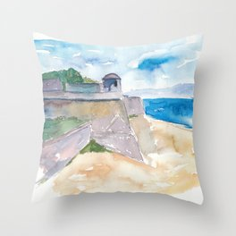 Ajaccio Corsica France - Beach and Fortress Throw Pillow