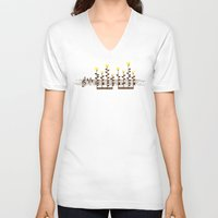 music notes V-neck T-shirts featuring Music notes garden by Picomodi