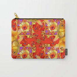 GOLD FISH & RED POPPIES GEOMETRIC BLACK ARTWORK Carry-All Pouch