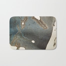 Abstract map blue and black ink drawing Bath Mat