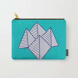 Paku Paku, navy lines on turquoise Carry-All Pouch