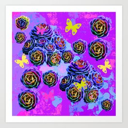violet cactus  collage Art Print