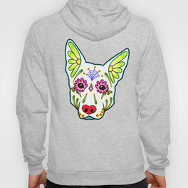 German Shepherd in White - Day of the Dead Sugar Skull Dog Hoody