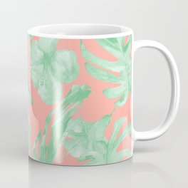 Tropical Palm Leaves Hibiscus Flowers Coral Green Coffee Mug