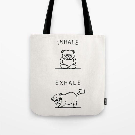 Inhale Exhale English Bulldog Tote Bag