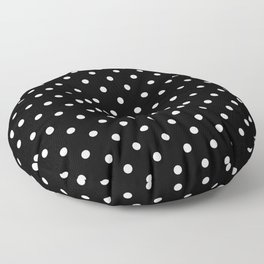Licorice Black with White Polka Dots Floor Pillow