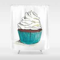 cupcake Shower Curtains featuring Cupcake by HurlinghamRoadStudio