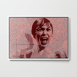 Text Portrait of Janet Leigh with Full Script of Psycho Metal Print