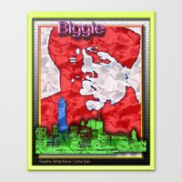 biggie Canvas Prints featuring Biggie by KEVIN CURTIS BARR'S ART OF FAMOUS FACES