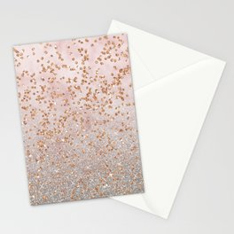 Mixed glitters on pink marble Stationery Cards