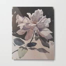 sketched Rose Metal Print